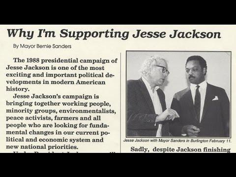 Bernie Sanders campaigns for Jesse Jackson 1988