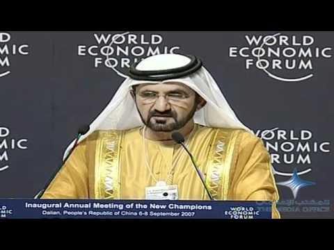 Mohammed bin Rashid addresses the World Economic Forum in Dalian