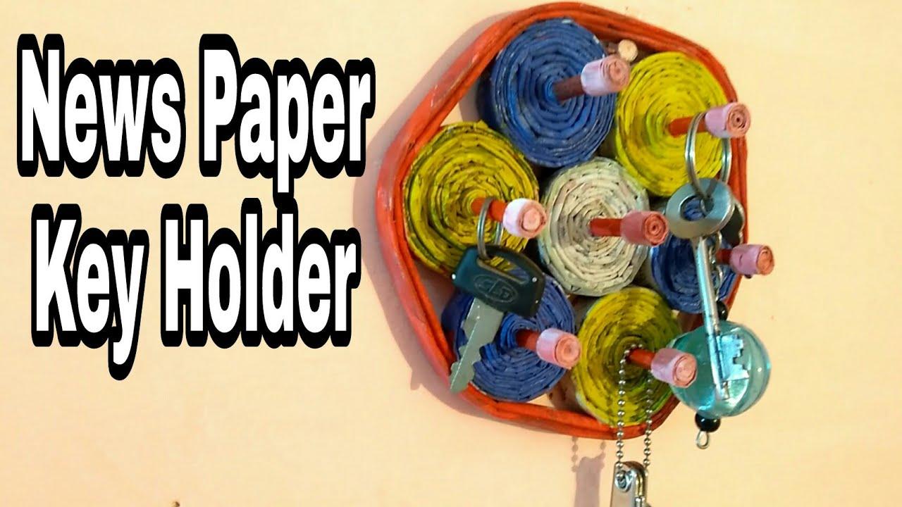 key holder | Newspaper key holder | Best out of waste | how to make ...