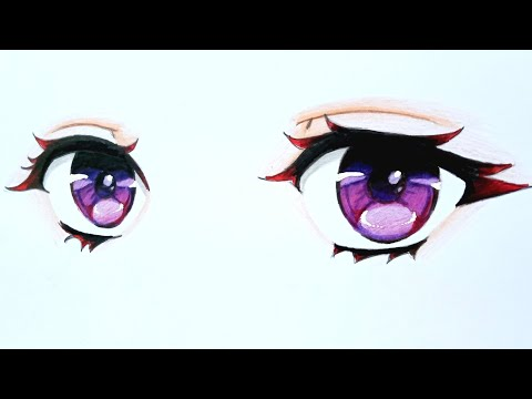 How To DRAW Anime EYES - Colored [Anime Drawing Tutorial For Beginners]