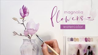 Watercolor Painting Techniques - Clear Glass Vase and Magnolia Flowers on a Twig