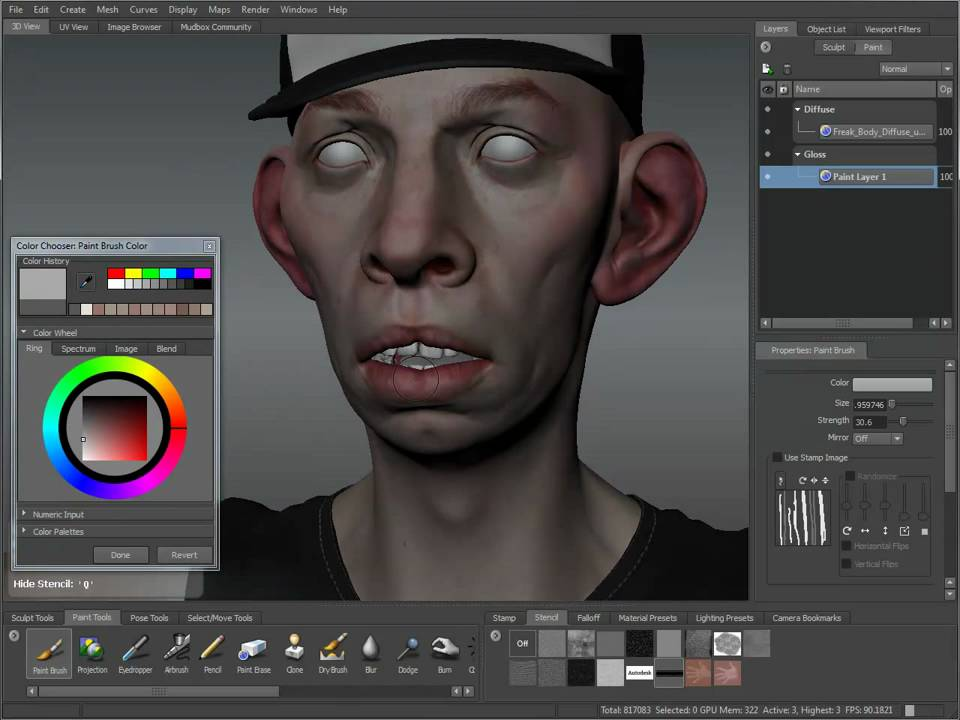 Mudbox 2011 Texture Painting Tutorial YouTube