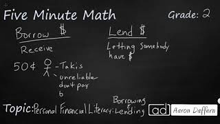 2nd Grade Math Personal Financial Literacy: Borrowing and Lending