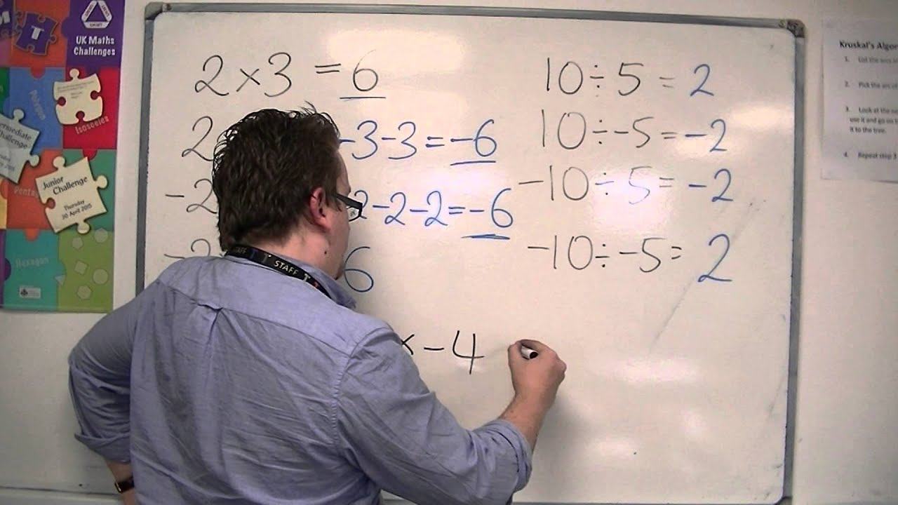 how to solve simultaneous equations with negative numbers