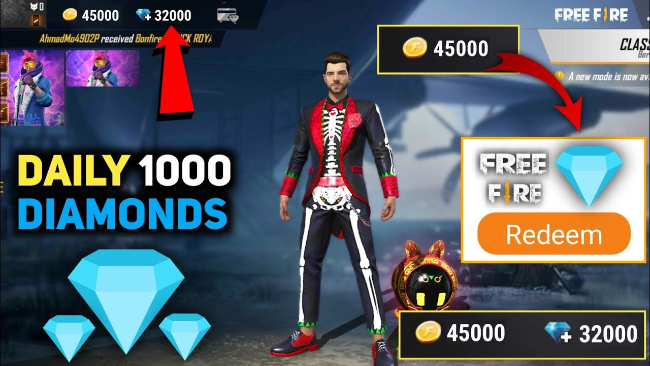 HOW TO GET FREE DIAMONDS IN FREE FIRE ! GET 1000 DIAMOND DAILY IN FREE FIRE  ! FREE DIAMONDS - YouTube