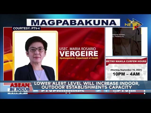 Lower alert level will increase indoor, outdoor establishments capacity