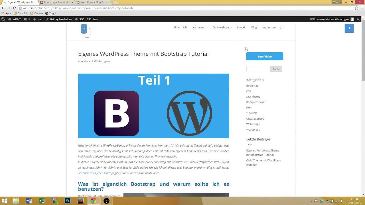 Wordpress Theme erstellen mit Bootstrap - Tutorial Teil 1 Deutsch ...