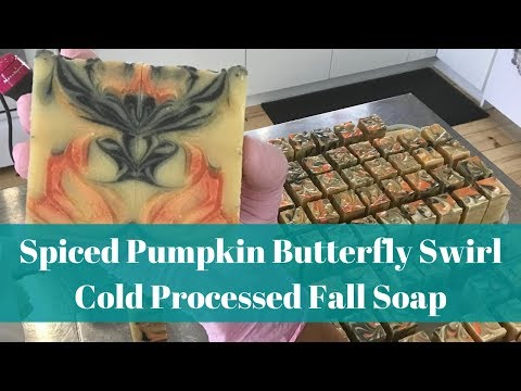 Spiced Pumpkin Butterfly Swirl Fall Soap - Cold Processed Soapmaking