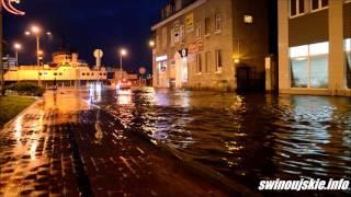 Woda zalala ulice w Świnoujściu