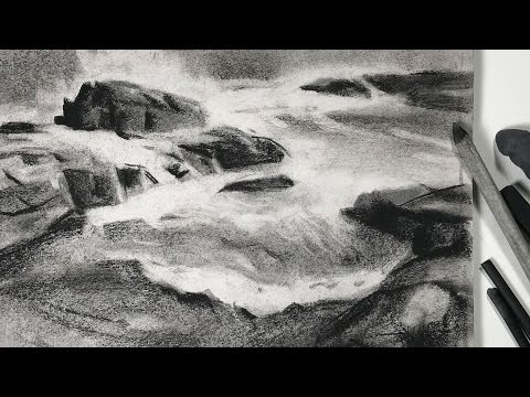 Charcoal drawing study of seashore landscape for watercolor painting