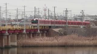 【山陽電鉄】冬枯れの加古川鉄橋を行き交う山陽電鉄・阪神電鉄車両