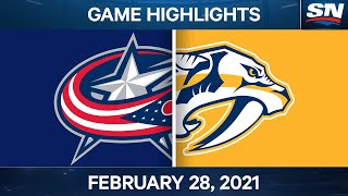 NHL Game Highlights | Blue Jackets vs. Predators - Feb. 28, 2021