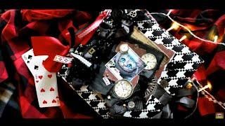 Алиса в стране чудес DIY фотоальбом ручной работы обзор 2017 /2018 скрапбукинг альбом Чеширский кот