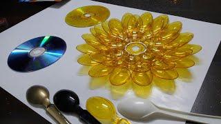 दिया स्टैंड बनाये स्पून और CD से , easy Diwali craft by Mitali