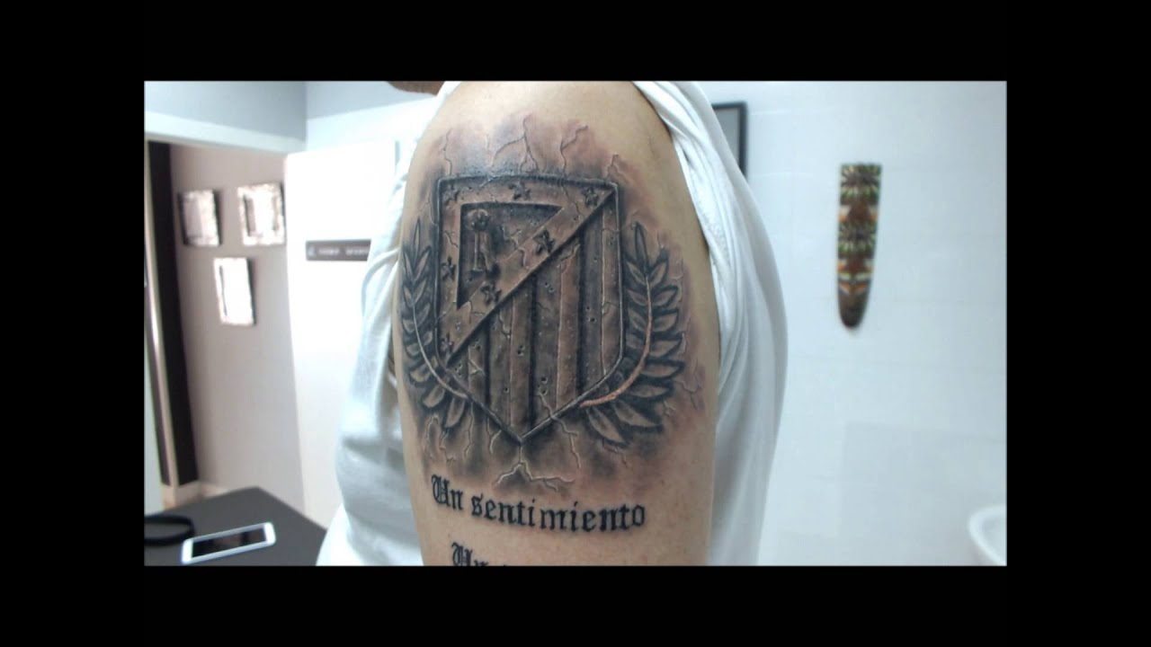Tattoo Escudo Atletico De Madrid Efecto Piedra YouTube