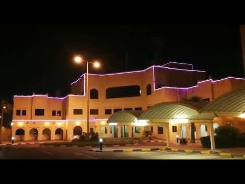 Decorative illumination of the international sea port in Qatar