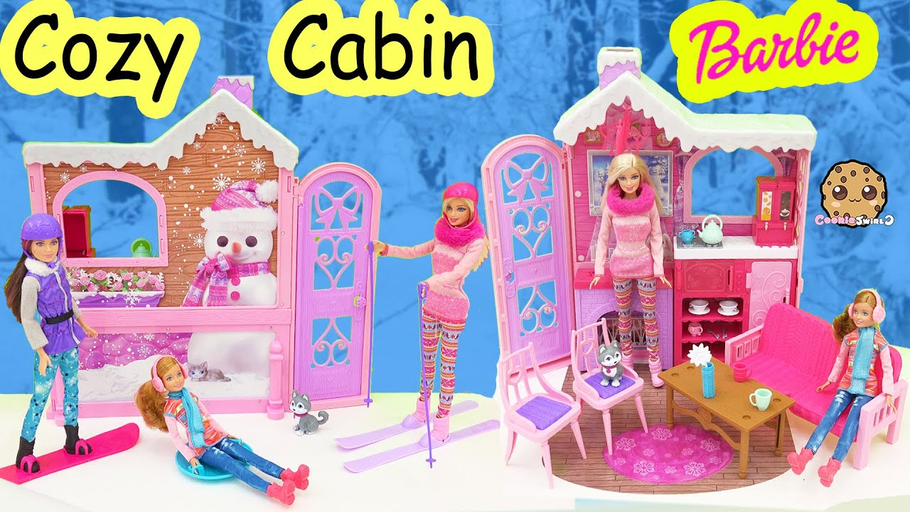 Barbie cozy cabin life in the dreamhouse sisters house playset skiing