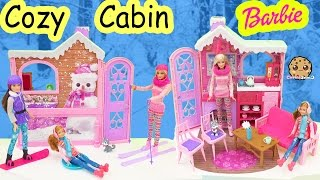 Barbie Cozy Cabin Life In The Dreamhouse Sisters House Playset Skiing, Snowboarding Toy Unboxing