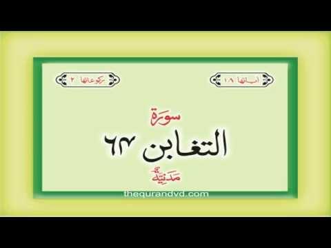 64. Surah At Taghabun  with audio Urdu Hindi translation Qari Syed Sadaqat Ali