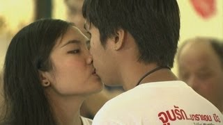 Couples set out to break world record for longest kiss