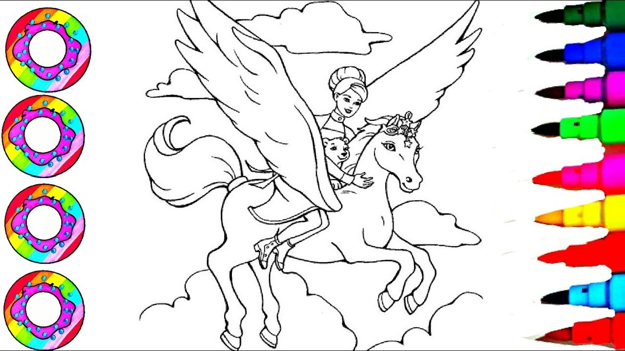 Disney\'s BARBIE and Rainbow Horse Coloring Sheet Coloring Pages l How to  Colour Learn Colors