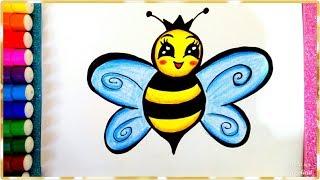 رسم نحلة سهلة للأطفال بالخطوات ، تعليم رسم النحلة ، تعليم الرسم للأطفال، How to draw a Bee for Kids