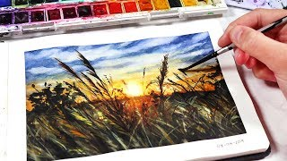 EASY Watercolor Sunset for BEGINNERS - Sunset Fields Painting Tutorial