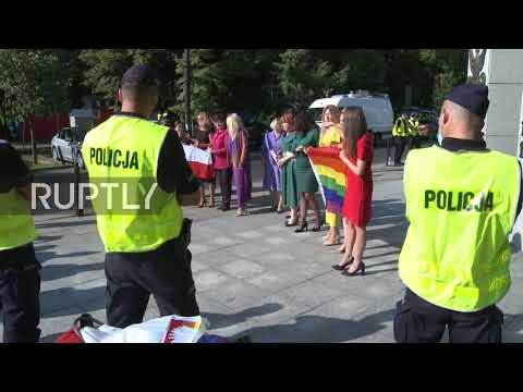 Poland: LGBT activists protest outside parliament as Duda arrives for swearing-in ceremony