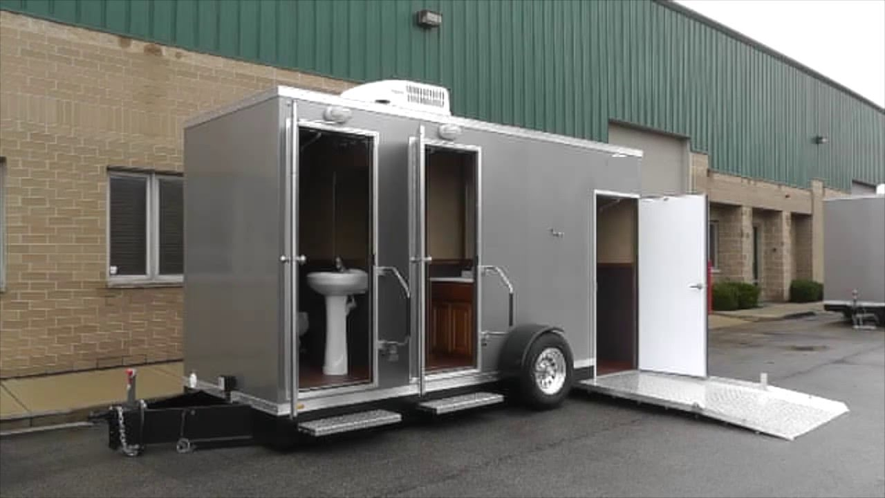 Ada restroom trailers ada 2 station comfort series for Portable bathroom trailers