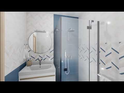 Современный дизайн маленькой ванны с душевой кабиной. Настенная плитка Блю Шеврон от LB-CERAMICS.