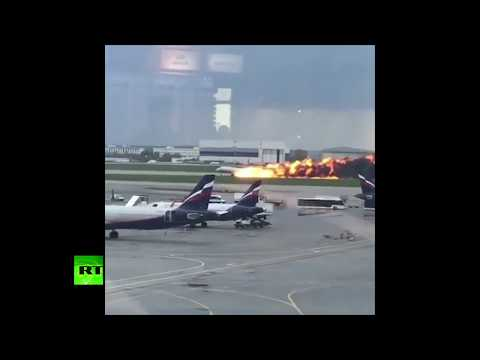 RAW: Burning plane makes an emergency landing at at Moscow's Sheremetyevo Airport