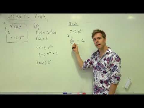 Løsning af y'=ky - formel, eksempel og bevis