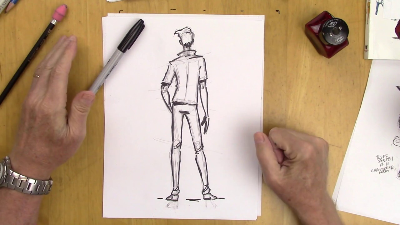 How to draw a man in a back view step by step