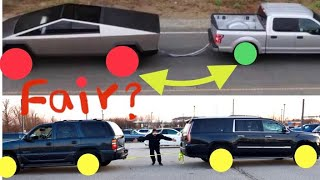 Tesla tug of war Cyber Truck vs F-150 ? Tug of war How about Cadillac escalade 2wd vs 4wd?
