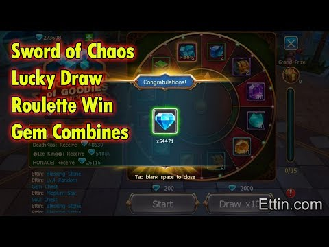 Sword Of Chaos, Roulette Win, Gem + Cards Opening, Gem Combine To Another 14. By Ettin Gaming. SoC