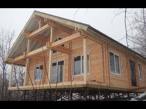 Одноэтажный дом шале со вторым светом на р.Свияге  из Двойного бруса. Казань.