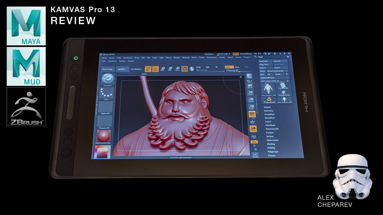 Photoshop, Maya, Mudbox and ZBrush testing with Huion Graphic Tablet KAMVAS  Pro 13