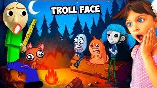 НОЧЬ в БАЛДИ КЕМПИНГ и МАЙНКРАФТ в ТРОЛЛФЕЙС! ТРОЛЛИМ ВСЕХ Troll Face Video Internet Memes Валеришка