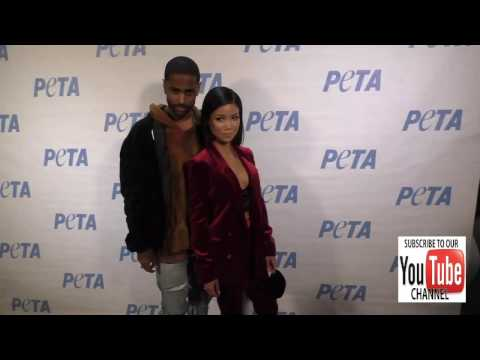 Jhene Aiko and Big Sean at the Rather Go Naked Than Wear Fur Opening Night Of PETA's Naked Ambition
