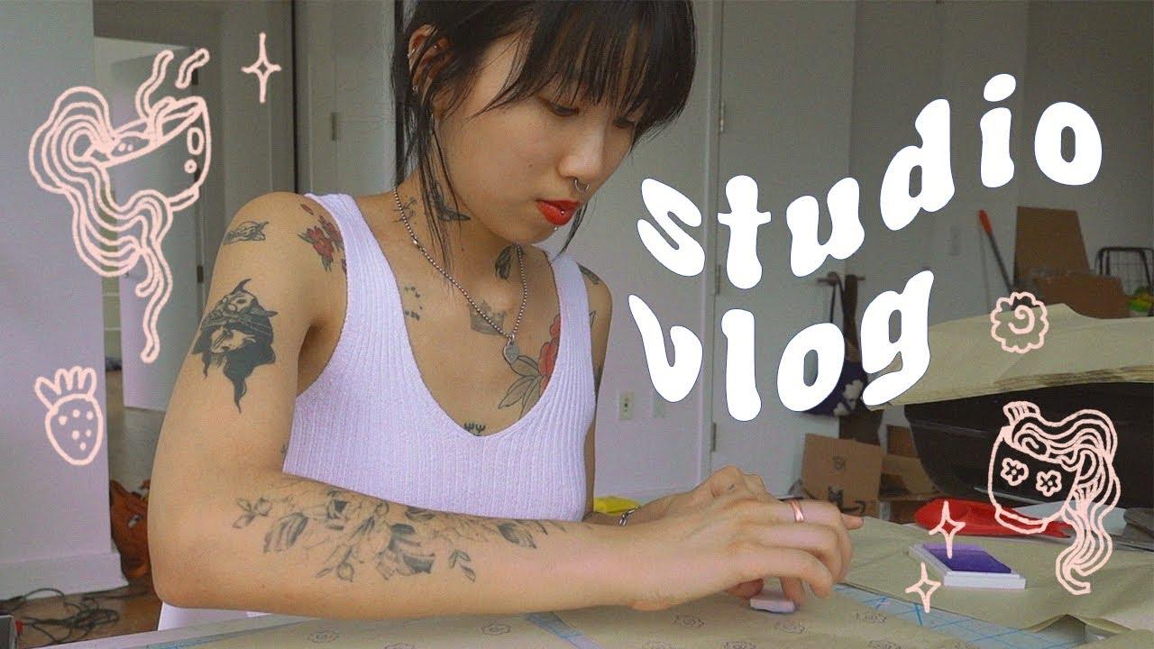 STUDIO VLOG// tattooing, making pins, packing orders 🌿