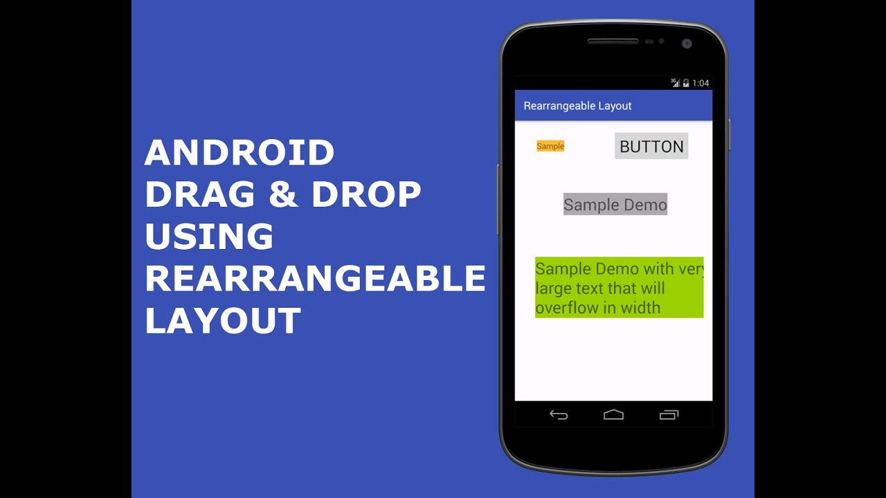 Android Drag and Drop using Rearrangeable Layout