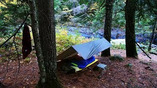 Solo Overnight Tarp Cąmp in a Thunderstorm in a River Gorge