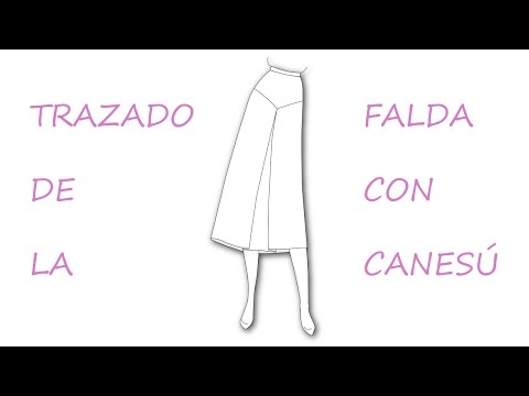 Como hacer un patrón o molde de falda con canesú y tablón.