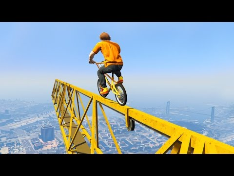 EXTREME BMX CRANE STUNT PARKOUR! (GTA 5 Funny Moments)