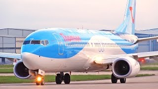 Sunrise Plane Spotting at Manchester Airport - Runway 23L Close Up Departures
