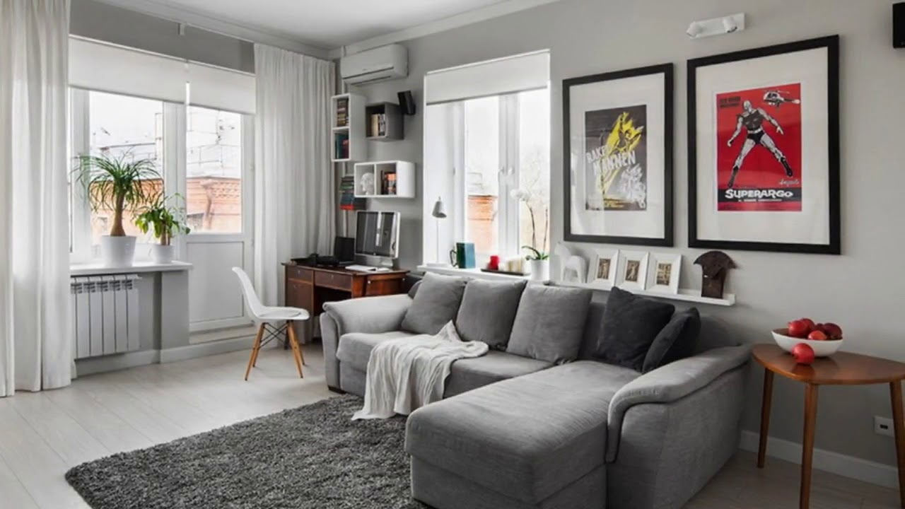 gray and white living room