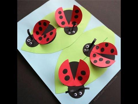 DIY Paper crafts for Kids - Paper animals - ladybug + Tutorial !