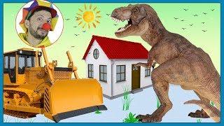 Clown Bob & Construction vehicles Excavator & Bulldozer Building House for Dinosaur