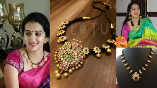 Black thread gold necklace designs new collection