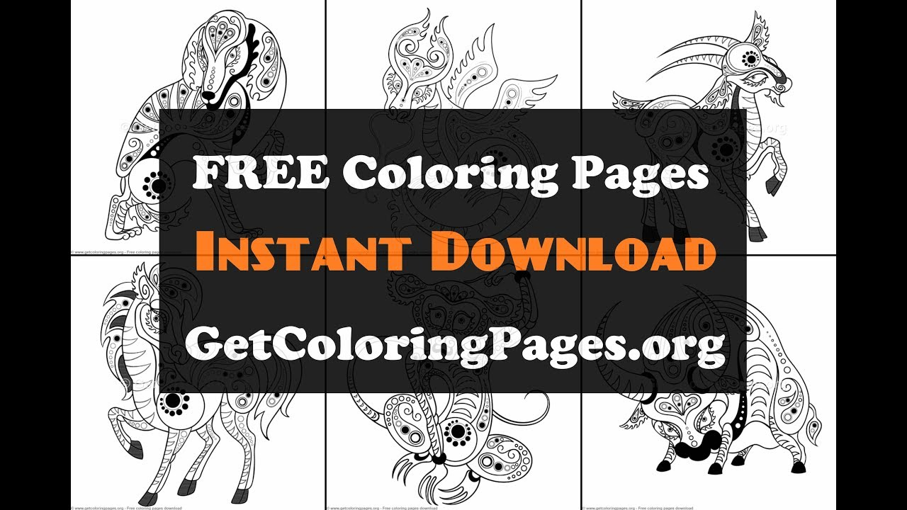 Chinese Zodiac Signs Coloring Pages Printable Youtube